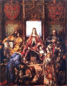 Học viện Krakow ra đời năm 1364, được vẽ bởi Jan Matejko (1838-1893).